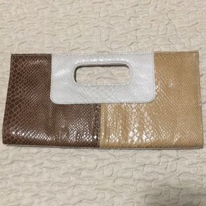 Brown/Tan Faux Leather Clutch